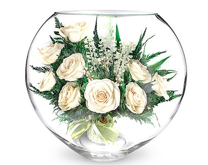 Ivory roses in a vase Natural flowers,Amaranthine flowers, birthday gift, flower decor, real flowers,