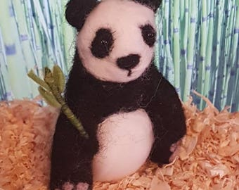 Needle Felt Panda, needle felt animals, miniature, Panda bear, bamboo, felt sculpture, felted Panda, bear, wildlife gift