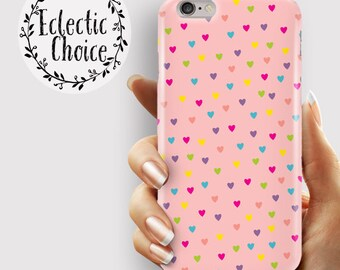 Rainbow Hearts Pink iPhone 7 case, iPhone 6s Plus case, iPhone 6 case, 5s, 5c, kawaii case dotty heart multi colour, pastel ,  pink confetti