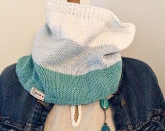 Snood sailor blue turquoise, white, pastel blue