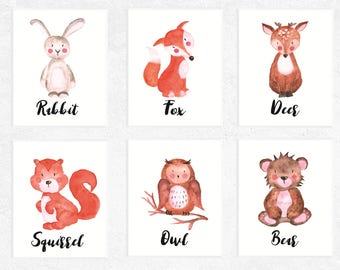 Woodland Animals Printables | 6 Set | Fox | Deer | Bear | Rabbit | Owl | Squirrel | Nursery Prints | Watercolor | Baby Art