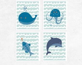 Nursery Printables | Under the Sea Art Printables | Nautical Prints | Whale Art | Jellyfish | Fish Prints | Dolphin Art