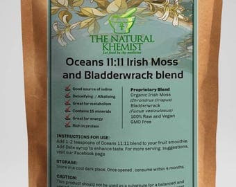 Dr Sebi inspired Irish moss and Bladderwrack powder, detoxifying , weightloss , Kelp Seamoss mineral blend powder Oceans 11:11