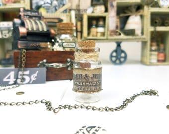 Mini Bottle MEDICINE II / Shadow Box Trinkets /Miniature Glass Bottle Pendant /Charm Dollhouse /Configuration Box