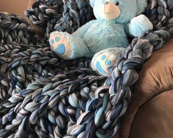 Chunky Knit blanket, chunky wool blanket,  wool blanket, handmade, gift, knit blanket , merino wool blanket