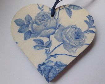 Decoupage Heart, Blue and White Heart, Hanging Heart Decor, Shabby Chic Heart