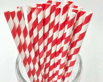 Bright Red Paper Straw Pack