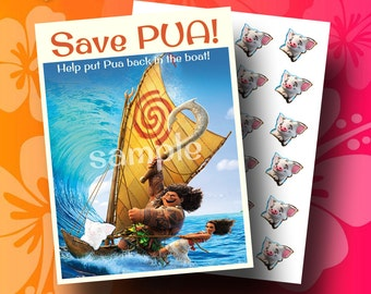 MOANA Party Game;  Pin Pua on the Boat; moana game
