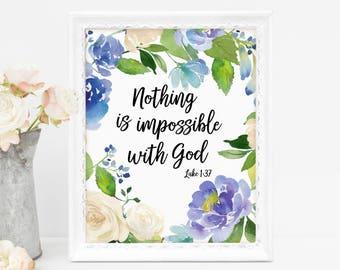 Scripture Art, Christian Wall Art, Christian Bible Verse Wall Art, Luke 1:37, Wreath Wall Art, Blue Flowers, Gift for Her, Printable Art