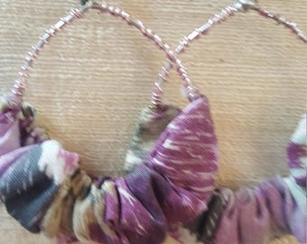 One of a Kind Gathered Cloth Earrings