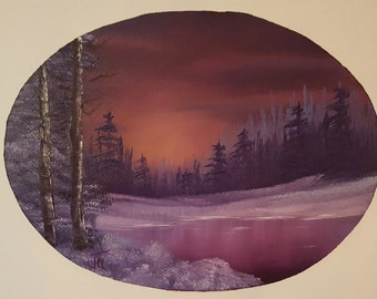 Snowy Winter Sunset Oval 16X20 Oil Painting