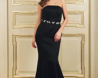 Black gown with swarovski elements belt
