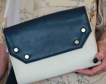 Vintage Clutch Bag, 80's, blue & white sky