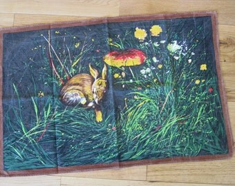 French tea towel with rabbit in woodland scene