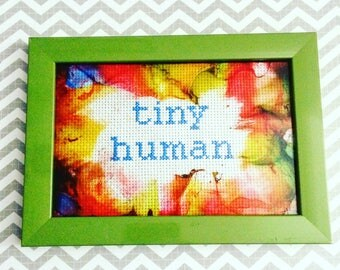Tiny Human - Handmade framed cross stitch