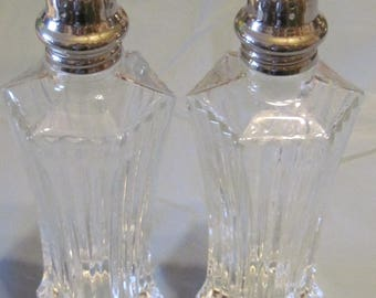 Crystal and Sterling Tall Salt & Pepper Set