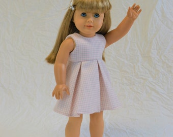 "Pale pink school girl plaid dress for 18"" doll"