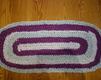 "Crocheted Oval Rag Rug 35"" X 16"""