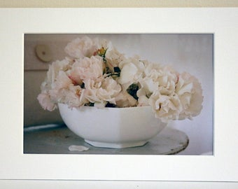 Mounted Photograph of Pink Roses in a White Bowl