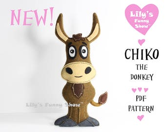 Donkey Sewing Pattern - Felt PDF pattern- Instant Download- Felt Hand Sewing Pattern- DIY -Plush Felt Pattern - Softies Pattern