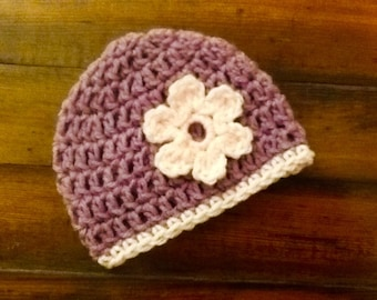 Crocheted Lavender Baby Beanie
