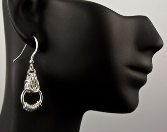 Eightine Chain Maille Earrings, Eightine Chain Maille Weave, Sterling Silver Earrings, Chain Maille Earrings, Chain Link Earrings, Chainmail