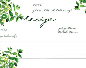 Printable Recipe Cards | Herbs