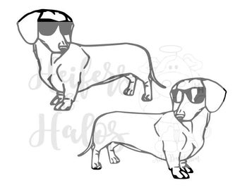 Two Cool Dachshunds, Doxies, wiener dogs!  This svg is great for t-shirts, bags, decals, and cups.