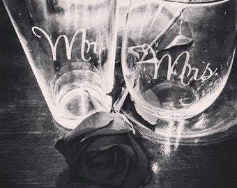 Mr. Pint Glass and Mrs. Wine Glass