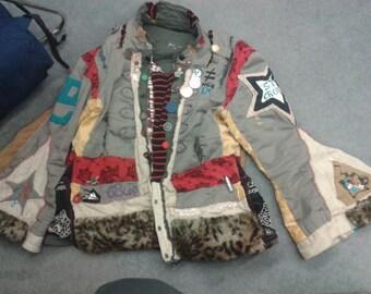 Hand sewn bohemian military circus ringmaster hippie jacket coat