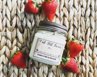 STRAWBERRY FIELDS, soy wax candle, sweet fragrance, hand poured, all natural, eco friendly, mason jar candle, strawberry, fruity