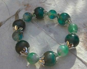 Resin Beaded Bracelet beaded bracelet gift for her summer bracelet green jewellery captured colour resin jewellery,elasticated bracelet