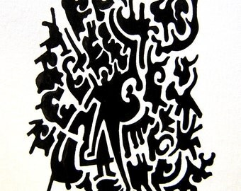 Abtract Forms, Puzzle Forms, Drawing, China Ink, Unframed, Original Painting