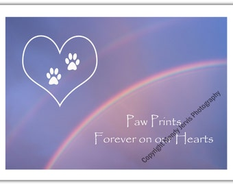 """Pet Sympathy Card to send when a special Dog or Cat has passed away, with double rainbow, and the words """"Paw Prints Forever on our Hearts"""""""