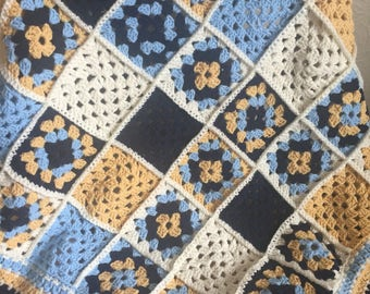 Handmade Navy Blue Yellow and White Granny Square Crochet Baby Blanket