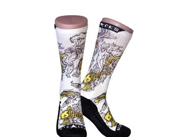 Handmade Sublimated Socks style Koi Express