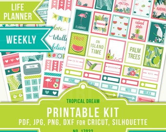JPG Planner Stickers, Printable Planner Stickers, Erin Condren Weekly Sticker Kit, ECLP Weekly Vertical, Tropical Planner Stickers, 17032