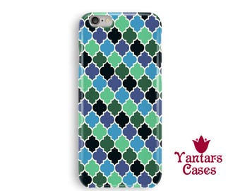 Green and blue iPhone 6 case, moroccan tiles phone case, cool iphone cases 6, iPhone 5, 5s, SE, 4, 4s, 7 Plus, iphone 6s cases protective