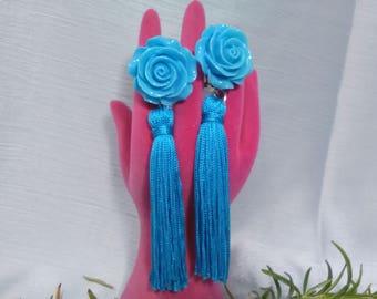 Flamenco earrings, turquoise flower earrings, fringe earrings, party earrings, fair earrings, Mother's Day