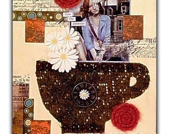 "Mixed Media Fine Art Collage ~ ""Time For Friends"""