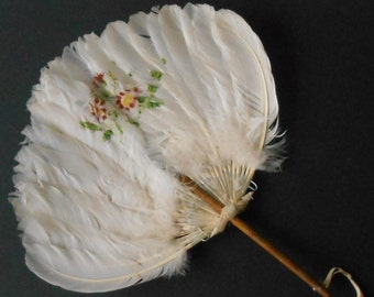 Feather Hand Fan Vintage Painted wood handle 1940s
