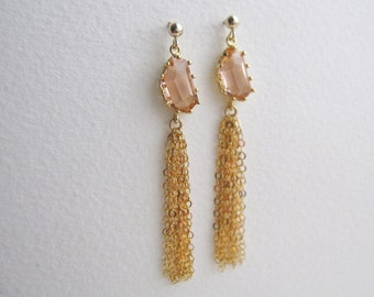 Celebrate Earrings, Gold Earring, 14K Gold Filled Earrings, Peach Crystal Earrings, Tassel Earrings, Fancy Earrings, Event Earrings, Classy