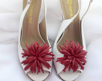 Genuine leather Red Aster Chrysanthemum Dahlia flower Shoe Clips decoration brooch Handmade accessories, Women  Jewelry gift clips for shoes