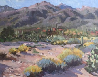 View of the Catalinas, Original acrylic on canvas, 14x18