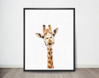 Giraffe Print, Animal Nursery Print, Baby Animal Portrait, Nursery Decor, Animal Print Nursery, Girl Gift, Printable Digital Download