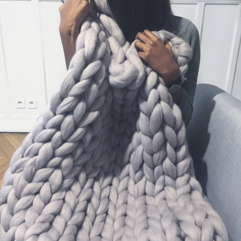 Plaid grosse maille couverture paisse laine m rinos laine - Couverture tricot grosse maille ...