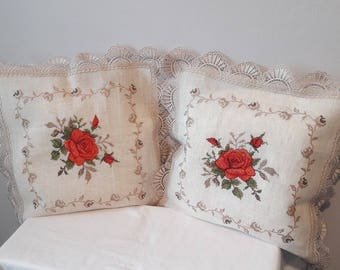 Beautiful Embroidered Decorative Pillows Linen ! Floral Pattern ! Natural pillow Beige ! Lace Decorating | Size 40 x 40 cm / 16'' x 16''