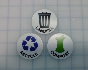 Recycle, Landfill, Compost Sticker Set, Laminated, 2 Inch Round