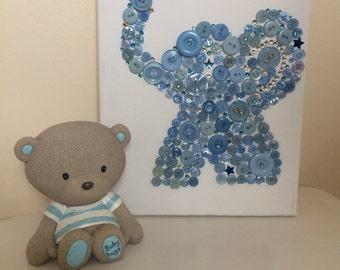 Button Art Canvas Elephant