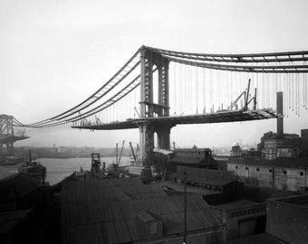 1909 Manhattan Bridge Under Construction Vintage Photograph